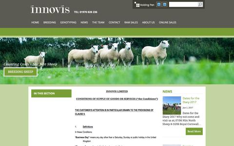 Screenshot of Terms Page innovis.org.uk - Innovis Breeding Sheep :: Terms & Conditions - captured June 7, 2017