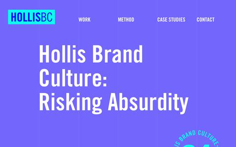 Screenshot of Home Page hollisbc.com - Hollis Brand Culture - California Creative Lab - San Diego - 619.234.2061 - captured Sept. 29, 2018