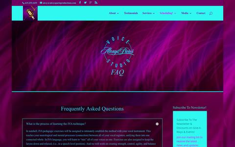 Screenshot of FAQ Page alexysparisproductions.com - Speech Level Singing, Seth Riggs, Learn How To Sing, Voice Training, Vocal Coach, The Voice Studio - captured March 31, 2016
