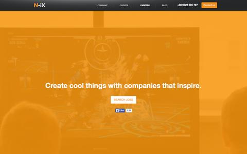 Screenshot of Jobs Page n-ix.com - Careers at N-iX: Create cool things with companies that Inspire. - captured Feb. 26, 2016