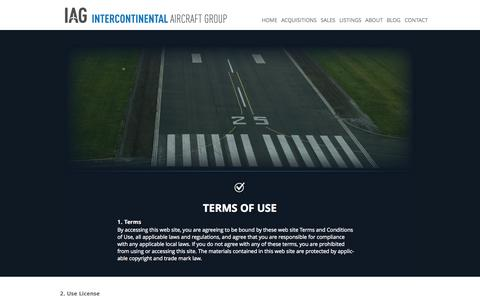 Screenshot of Terms Page iagjets.com - TERMS OF USE | IAG - captured Oct. 6, 2014