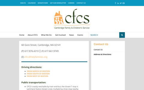Screenshot of Maps & Directions Page helpfamilies.org - Cambridge Family & Children's Service : About CFCS : Contact Us : Address & Directions - captured Sept. 26, 2018