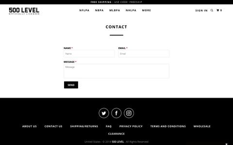 Screenshot of Contact Page 500level.com - Contact Us - 500 LEVEL - captured Oct. 20, 2018