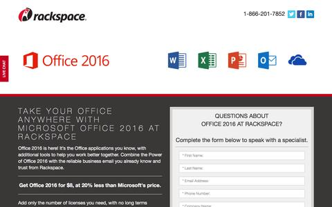 Screenshot of Landing Page rackspace.com - Thank you for your interest in Microsoft Office 2016 at Rackspace - captured Aug. 29, 2016