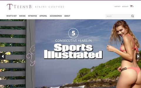 Screenshot of Home Page teenyb.com - Brazilian Bikinis, Thong Bikinis, Micro Bikinis - TeenyB Bikini Couture - captured Sept. 18, 2016