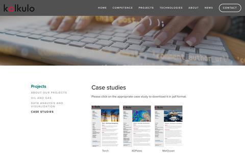 Screenshot of Case Studies Page kalkulo.no - Case studies — Kalkulo - captured Nov. 15, 2018