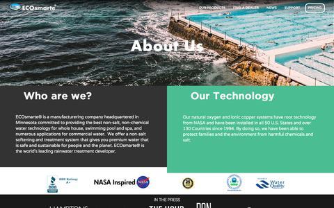 Screenshot of About Page ecosmarte.com - Ecosmarte | About Us - captured Sept. 23, 2018