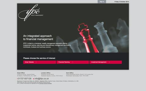 Screenshot of Home Page Login Page ifpc.co.uk - IFPC | An integrated approach to financial management - captured Oct. 3, 2014
