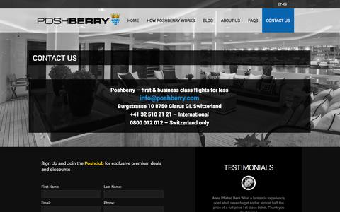 Screenshot of Contact Page poshberry.com - Contact Poshberry for discounted First and Business Class Flights - captured Oct. 2, 2014