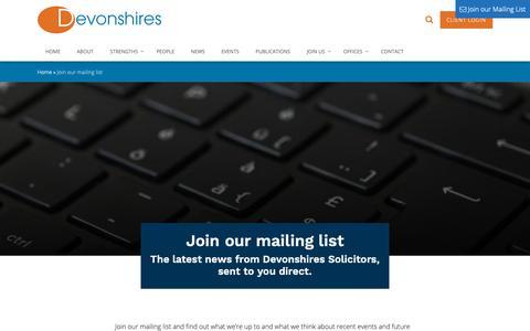 Screenshot of Signup Page devonshires.com - Join our mailing list - Devonshires - captured Oct. 9, 2018