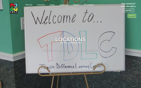 Screenshot of Locations Page tangibledifference.com - Local ABA Learning Centers | TDLC 1-855-288-8352 - captured Nov. 5, 2017