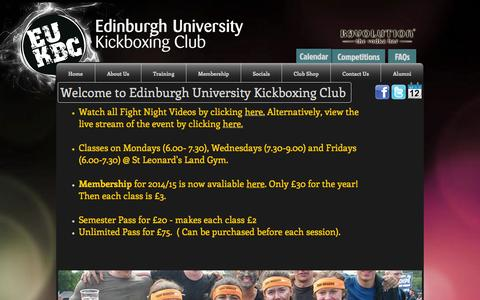 Screenshot of Home Page eukbc.co.uk - Edinburgh University Kickboxing Club - captured Oct. 2, 2014