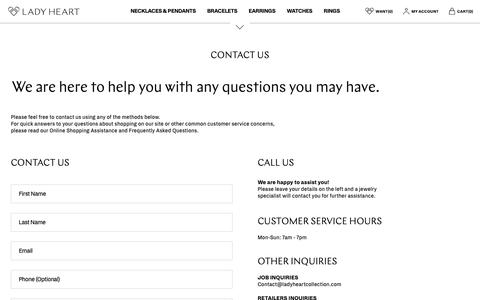 Screenshot of Contact Page ladyheartcollection.com - CONTACT US – Lady Heart - captured Sept. 26, 2018