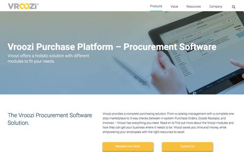 Screenshot of Products Page vroozi.com - Procurement Software | The Full Vroozi Solution | Vroozi - captured July 16, 2019