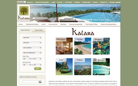Screenshot of Home Page kalaraco.com - Kalara real estate-Koh Samui Luxury villas-Luxury villa rental-List your Villa - captured Oct. 6, 2014
