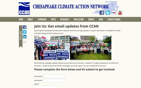 Screenshot of Signup Page salsalabs.com - Chesapeake Climate Action Network - captured Sept. 17, 2014