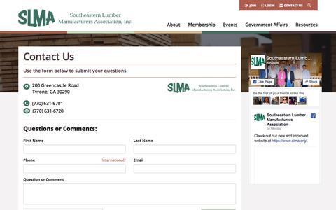 Screenshot of Contact Page slma.org - Contact Us -  Southeastern Lumber Manufacturer's Association, Inc. - captured Jan. 20, 2018