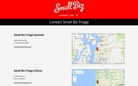 Screenshot of Contact Page smallbiztriage.com - Contact Us - Small Biz Triage - captured June 14, 2017