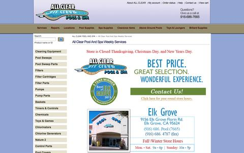Screenshot of Contact Page Locations Page shopallclear.com - ALL CLEAR POOL AND SPA::All Clear Pool And Spa Weekly Services - captured Oct. 23, 2014