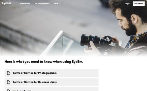 Screenshot of Terms Page eyeem.com - EyeEm  Terms of Service - captured Jan. 25, 2020