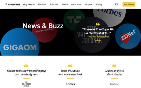 Screenshot of Press Page sisense.com - News, Buzz and Press for Sisense Business Analytics - captured Oct. 30, 2019