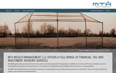 Screenshot of Services Page mtxwealth.com - Services | MTX Wealth Management - captured Oct. 4, 2017