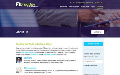 Screenshot of About Page drugdev.com - About DrugDev Clinical Technology Solutions | DrugDev - captured Dec. 5, 2016