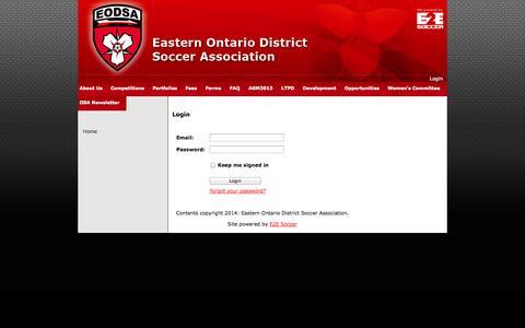 Screenshot of Login Page eodsa.ca - Eastern Ontario District Soccer Association - captured Oct. 1, 2014