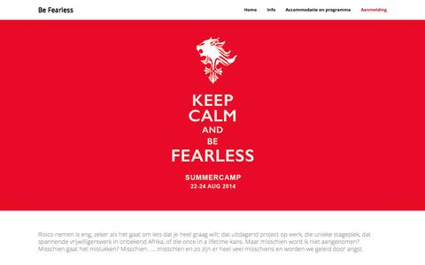 Screenshot of Home Page lifeaccess.nl - Be Fearless | KEEP CALM AND BE FEARLESS - captured Sept. 29, 2014