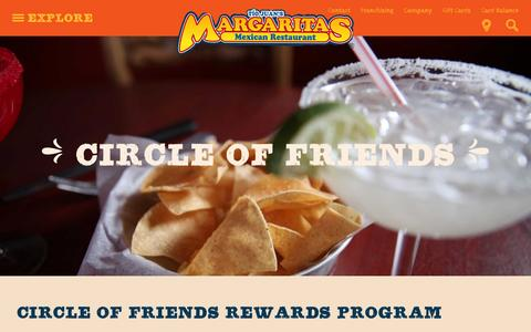 Screenshot of Signup Page margs.com - Circle of Friends | Margaritas Mexican Restaurant - captured Feb. 12, 2016
