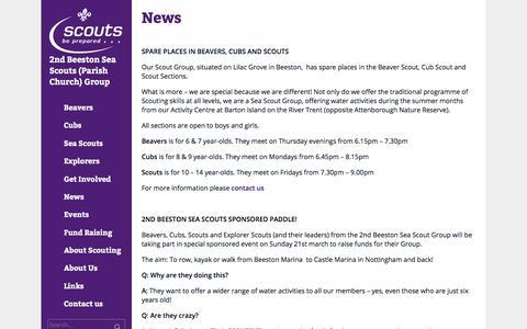 Screenshot of Press Page 2ndbeeston.org.uk - News     2nd Beeston Sea Scouts (Parish Church) Group - captured Feb. 24, 2018