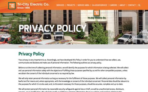Screenshot of Privacy Page tricityelectric.com - Privacy Policy | Tri-City Electric - captured Nov. 9, 2017