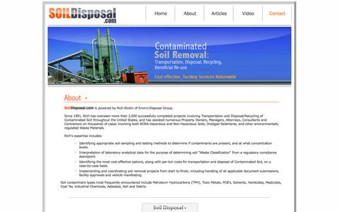 Screenshot of About Page soildisposal.com - About, Transportation and Disposal of Contaminated Soil - captured Oct. 3, 2014