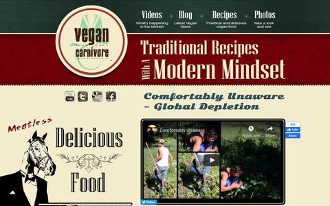 Screenshot of Home Page vegancarnivore.com - Vegan Carnivore - captured Feb. 19, 2020