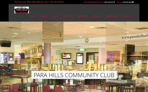 Screenshot of Home Page parahillsclub.com.au - Para Hills Community Club the place to be! - captured March 4, 2016