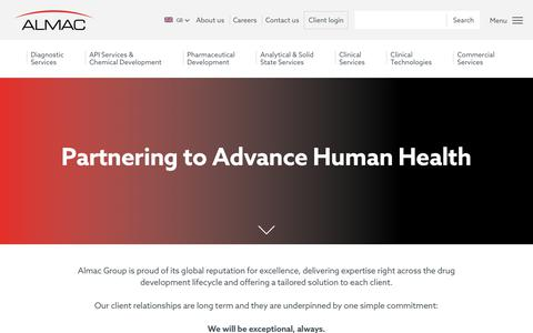 Screenshot of Home Page almacgroup.com - Partnering to Advance Human Health - Almac - captured Aug. 16, 2019
