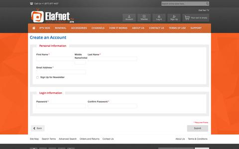 Screenshot of Signup Page elafnettv.com - Create New Customer Account - captured Oct. 31, 2017