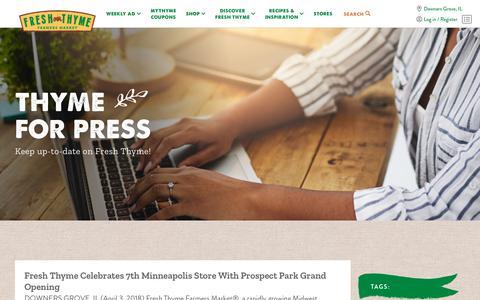 Screenshot of Press Page freshthyme.com - Press – Fresh Thyme - captured Jan. 5, 2019