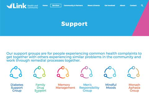 Screenshot of Support Page monashlink.org.au - Support – Link Health and Community - captured Nov. 4, 2017