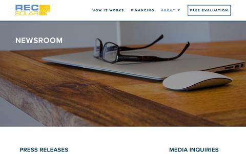 Screenshot of Press Page recsolar.com - Newsroom | REC Solar - captured Feb. 20, 2016