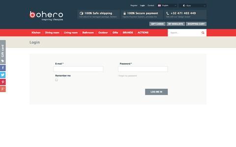 Screenshot of Login Page bohero.eu - Login | Bohero - captured Oct. 5, 2014