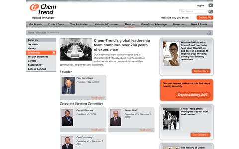 Screenshot of Team Page chemtrend.com - Leadership | Chem-Trend - captured July 17, 2018