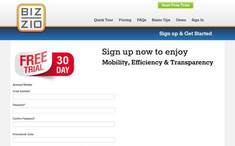 Screenshot of Trial Page bizzio.com - Bizzio  - Sign up & Get Started - captured Oct. 5, 2014