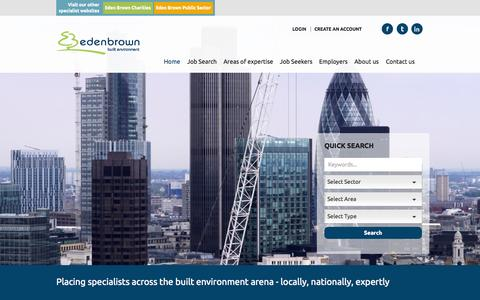 Screenshot of Home Page edenbrown.com - Built Environment jobs & recruitment in the UK - Eden Brown Built Environment - Eden Brown Built Environment - captured July 19, 2015