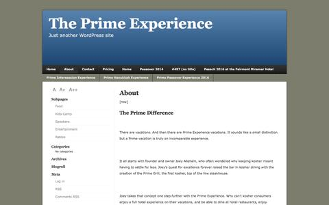 Screenshot of About Page theprimeexperience.com - About – The Prime Experience - The Prime Experience - captured Nov. 11, 2016