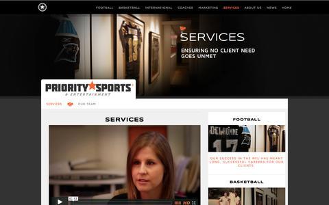 Screenshot of Services Page prioritysports.biz - Services   Priority Sports & Entertainment   www.prioritysports.biz   Chicago . Los Angeles . Sports Agency - captured Oct. 3, 2014