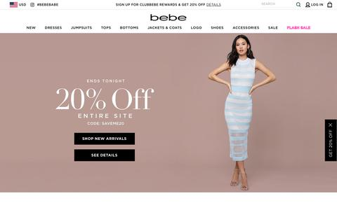 Screenshot of Home Page bebe.com - Women's Fashion: Chic & Contemporary Clothing | bebe - captured April 21, 2019