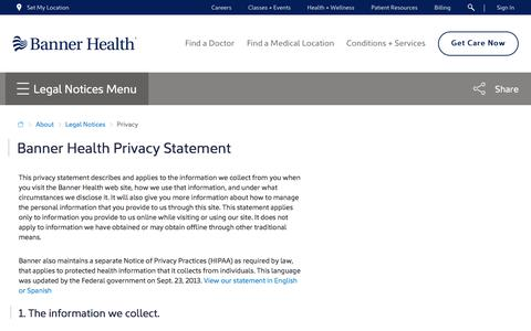 Screenshot of Privacy Page bannerhealth.com - Privacy | Legal Notices - captured April 15, 2018
