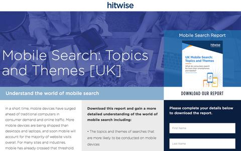 Screenshot of Landing Page connexity.com - Hitwise | Mobile Search Report UK - captured Sept. 19, 2018