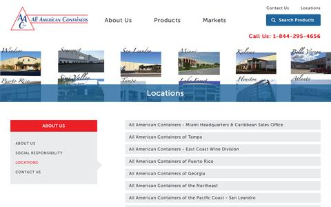 Screenshot of Locations Page allamericancontainers.com - Locations : All American Containers - captured Oct. 3, 2018